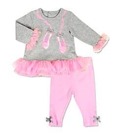 Cuddle Bear® Baby Girls' 2-Piece Ballerina Top And Leggings Set