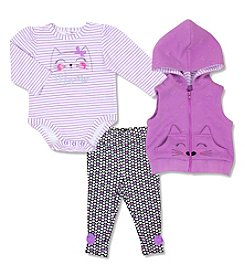 Cuddle Bear® Baby Girls' 3-Piece Meow Vest Set