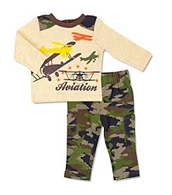 Cuddle Bear® Baby Boys' 2 Piece Aviation Top Set