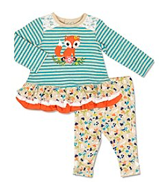 Cuddle Bear® Baby Girls' 2 Piece Floral Fox Top And Leggings Set