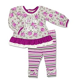 Cuddle Bear® Baby Girls' 2 Piece Little Love Top And Leggings Set