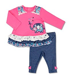 Cuddle Bear® Baby Girls' 2 Piece Elephant top and pants Set
