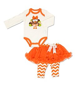 Cuddle Bear® Baby Girls' 3-12 Months 2-Piece Turkey Bodysuit & Tutu Legging Set