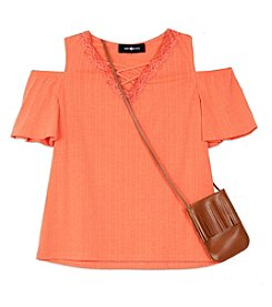 Amy Byer Girls' 7-16 Girls Cold Shoulder Purse Top