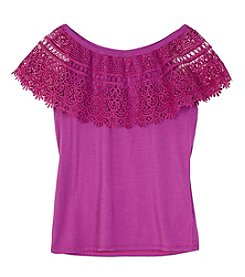 Amy Byer Girls' 7-16 Girls Cha Cha Crochet Top
