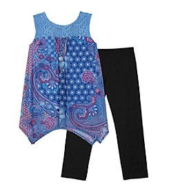 Amy Byer Girls' 7-16 Sleeveless Hanky Hem Top And Leggings Set