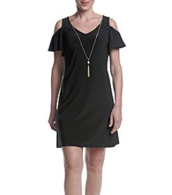 Prelude® Petites' Cold Shoulder Necklace Dress
