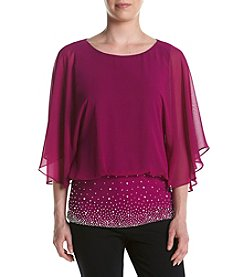 MSK® Blouson Beaded Hem Top