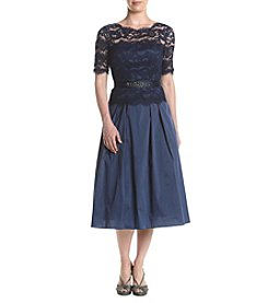 Adrianna Papell® Illusion Lace & Taffeta Midi Dress