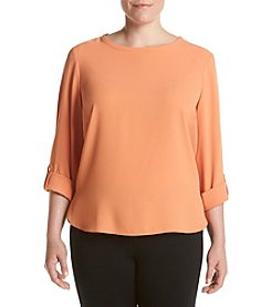 Nine West® Plus Size Roll Tab Sleeve Crepe Blouse