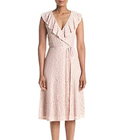 Ivanka Trump® Lace Ruffle Wrap Dress