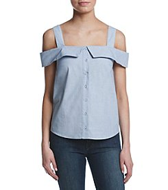 Kensie® Oxford Button Up Cold Shoulder Blouse