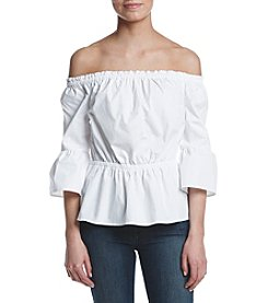 Kensie® Oxford Off The Shoulder Shirt