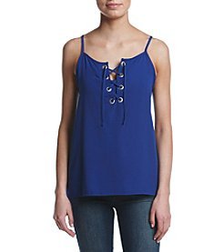 Kensie® Lace-Up Crepe Tank