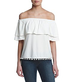 Kensie® Popover Off Shoulder Top With Pom Pom