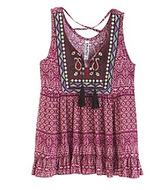 Beautees Girls' 7-16 Sleeveless Print Embroidered Top
