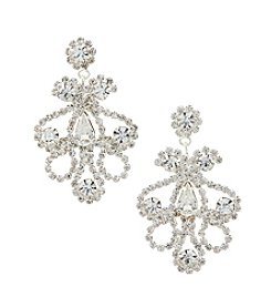 BT-Jeweled Rhinestone Drop Post Earrings