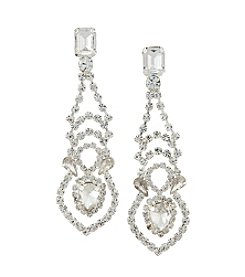 BT-Jeweled Emerald Cut Cubic Zirconia Drop Earrings