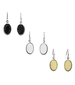 Studio Works® Black/Yellow/White Oval Earring Trio