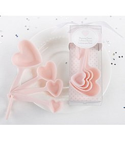 Kate Aspen Set of 12 Pink Heart Plastic Measuring Spoons