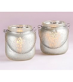 Kate Aspen Set of 12 Light Champagne Frosted Mercury Glass Hanging Lanterns