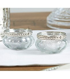Kate Aspen Set of 12 Petite Glass Tea Light Holders with Silver Fleck