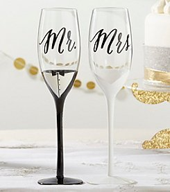 Kate Aspen Set of 2 Tuxedo and Wedding Gown Mr. & Mrs. Toasting Flutes