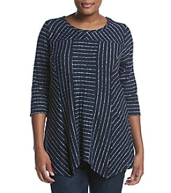 Relativity® Plus Size Striped Sharkbite Top