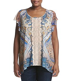 Oneworld® Plus Size Lace Trim Printed Top