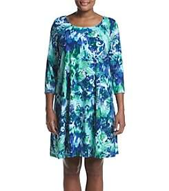 Nina Leonard Plus Size Trapeze Dress