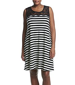 Nina Leonard Plus Size Striped Lace Top Dress