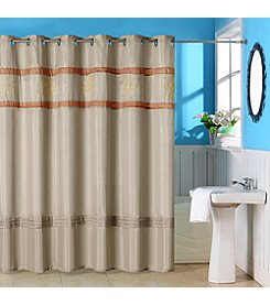 Lavish Home Radcliff Embroidered Shower Curtain with Grommets