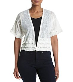 A. Moon Fringe Trim Shrug