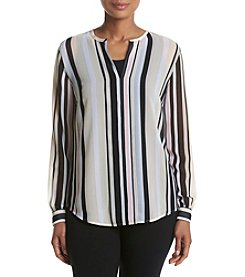 Anne Klein® Striped V-neck Blouse