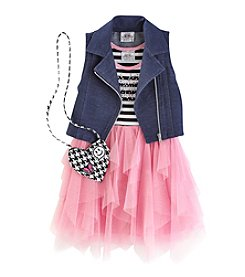 Beautees Grils' 4-6X 2 Piece Butterfly Vest Dress