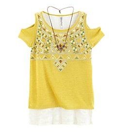 Beautees Girls 7-16 Short Sleeve High-Low Top