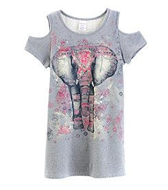 Miss Attitude Girls' 7-16 Elephant Cold Shoulder Crewneck Tee