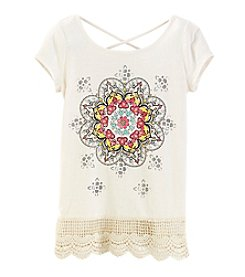 Miss Attitude Girls' 7-16 Short Sleeve Medallion Tee