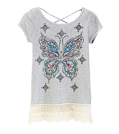 Miss Attitude Girls' 7-16 Butterfly Lace Tee