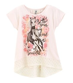Miss Attitude Girls' 7-16 Short Sleeve Horse High-Low Lace Hem Tee