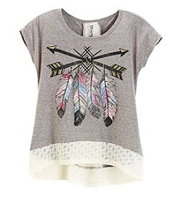 Miss Attitude Girls' 7-16 Short Sleeve High-Low Lace Hem Top