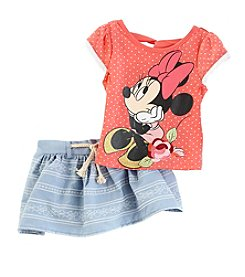 Disney® Girls' 2T-6X Minnie Mouse® Chambray Skooter Set