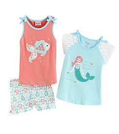 Nannette® Girls' 4-6X 3 Piece Mermaid Shorts Set