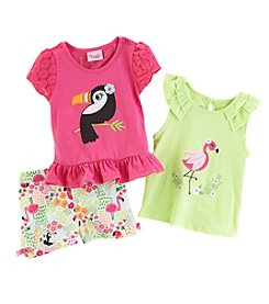 Nannette® Girls' 2T-6X 3 Piece Pink Parrot Shorts Set