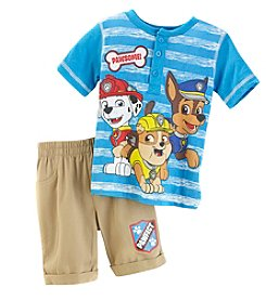 Paw Patrol Boys' 2T-4T 2 Piece Stripe Henley Tee And Shorts Set