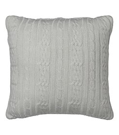 IZOD Cable Knit Silver Birch Square Decorative Pillow