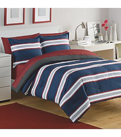 IZOD Rugby Stripe Navy/Red Comforter Set