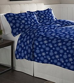 Pointehaven Snow Flakes Cotton Flannel Duvet Set