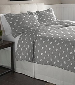 Pointehaven Polar Bear Cotton Flannel Duvet Set