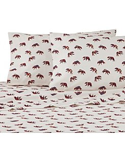 IZOD Mountain Bears Red Flannel Sheet Set